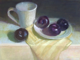 PLUMS WITH WHITE CUP