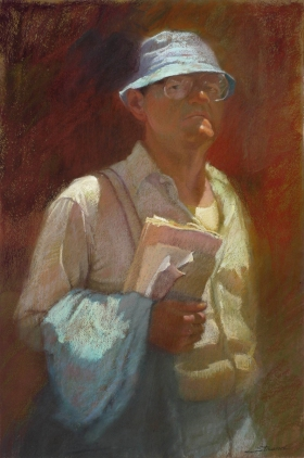 MAN WITH SUSPENDERS, BLUE HAT