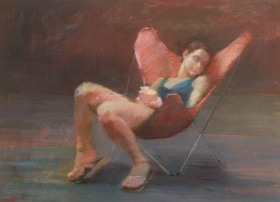 GIRL WITH ORANGE CHAIR