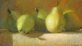 FIVE PEARS ON A LEDGE