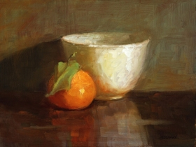 TANGERINE WITH WHITE BOWL