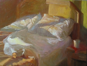 UNMADE BED, EARLY MORNING